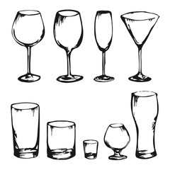 Collection of hand drawn vector drinks and glasses. Alcohol glasses. Wine, whiskey, champagne, vodka, cocktail, cognac. Sketch of different king of glasses. Set of stem ware and drink ware.