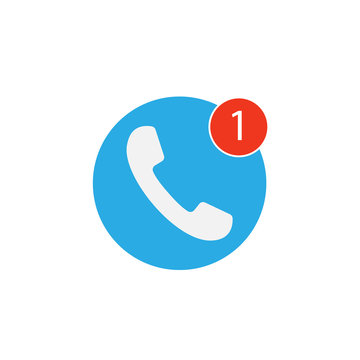 Phone icon, one missed call sign, white on blue background. Vector flat illustration.
