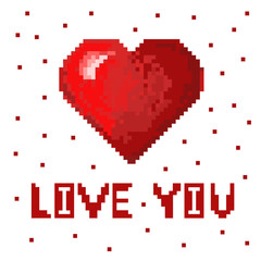 Red pixel heart in pixel art style. Cute volume heart. Love you text with pixels.