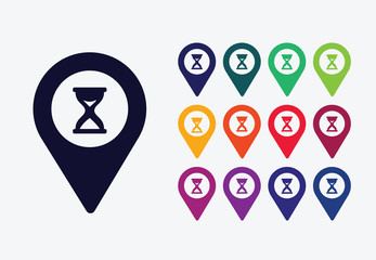 Hourglass icon map pointer colored vector design.