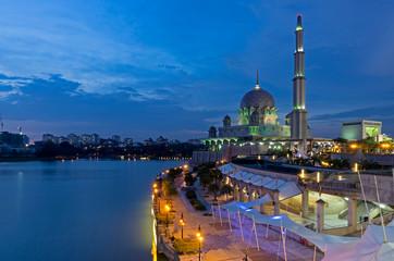 Night view of Putrajaya Mosque in Federal territory on Malaysia