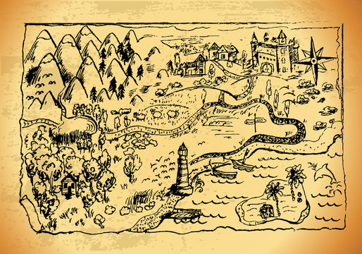 """Old style hand drawn a map with landscapes, mountains, forest, sea. Grunge vector """"Treasure Map"""" with lots of decoration with incredible details."""