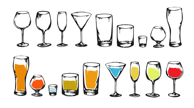Drawing alcohol drinks collection for design. Set of alcohol glasses. Colorful sketch of alcohol. Illustration for bar, restaurant, cafe, night club.
