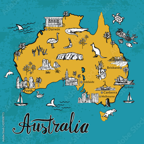 Tourist Map Of Australia With Cities.Drawing Cartoon Australia Vector Map Map Of Australian Continent