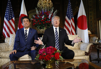 U.S. President Trump hosts a bilateral meeting with Japan's Prime Minister Abe at Trump's Mar-a-Lago estate in Palm Beach, Florida