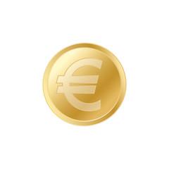 Golden Euro coin. Realistic lifelike gold Euro coin.