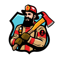 Fire department logo or label. American firefighter, fireman in helmet holds an ax in his hands. Cartoon vector illustration