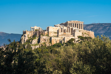 Fotobehang Athene The Parthenon Temple at the Acropolis of Athens during colorful sunset, Greece