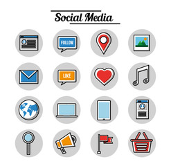 social media networks technology digital aps set vector illustration