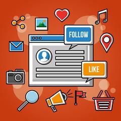 follow social media digital website icons vector illustration