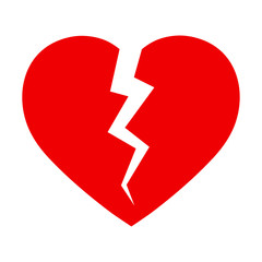symbol of a broken heart on a white background