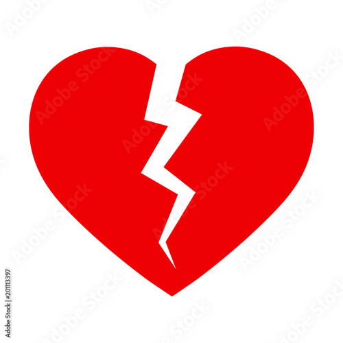 Symbol Of A Broken Heart On A White Background Stock Image And