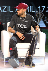 Brazilian soccer player Neymar attends a promotional event in Sao Paulo