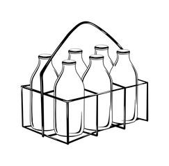 milk bottle case in black outline- drawing