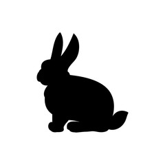 Silhouette of the rabbit on a white background