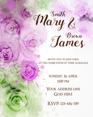 Floral invitation wedding template.