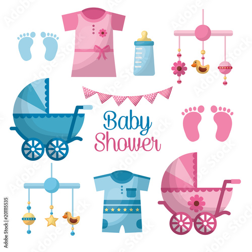 Happy Baby Shower Welcome Girl And Boy Toes Clothes Pennants Hanging Toys  Bottle Pram Vector Illustration