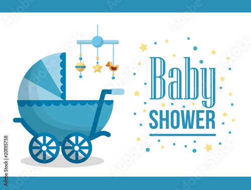 Happy Baby Shower Pram Sticker With Stars Hanging Toys Star Duck