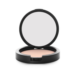 Pocket face powder with mirror against white background