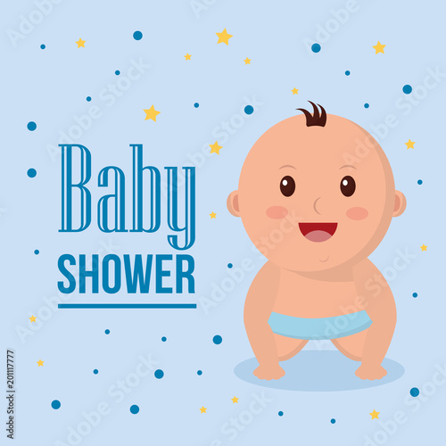 baby shower boy smiling blue diaper stars background vector
