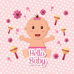 baby shower girl flowers rattles pink background happy babe stretching arms vector illustration