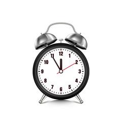 Vector realistic 3d illustration of black alarm clock, isolated on white background. Five minutes to twelve o'clock.