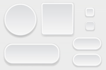 White blank buttons. Set of interface elements