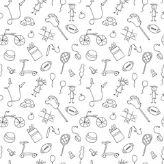 Seamless pattern for little boys and girls. Sketch style. Hand drawn children drawings. Doodle children drawing background. Vector illustration.