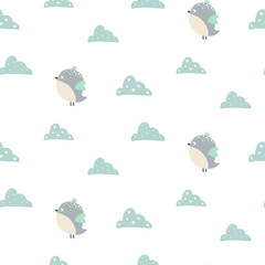 Seamless pattern with cute bird and clouds. Vector illustration.