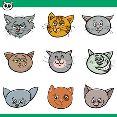 funny cats heads set cartoon illustration