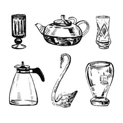 Vector hand drawn ink set of vases, tea pots  and glasses on white background