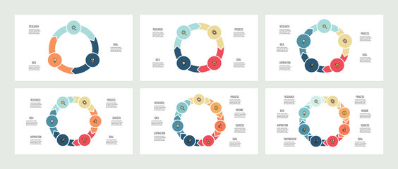 Business infographics. Circles with 3 - 8 parts, arrows. Vector templates.