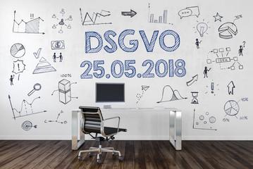 Blaue DSGVO Taste auf Tastatur