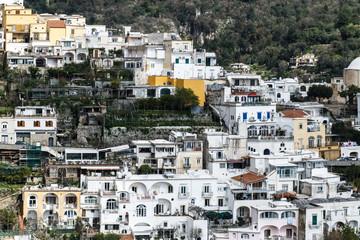 houses and lemon trees on the mountain in Positano, amalfi, Italy