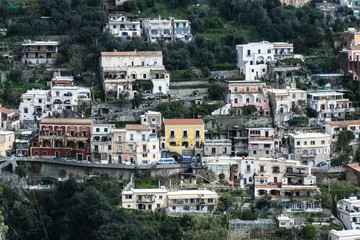 houses and lemon trees on the mountain in Positano, amalfi, Italy