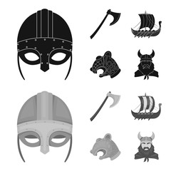 Viking helmet, battle ax, rook on oars with shields, dragon, treasure. Vikings set collection icons in black,monochrom style vector symbol stock illustration web.