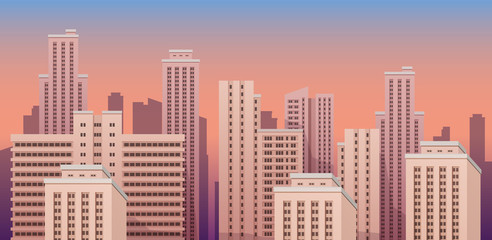 City urban landscape seamless vector illustration.