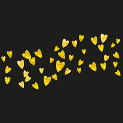 Heart confetti background with gold glitter. Valentines day. Vector frame. Hand drawn texture. Love theme for party invite, retail offer and ad. Wedding and bridal template with heart confetti.