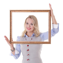 Girl with picture frame