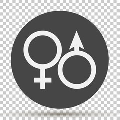 Vector icon of a gender symbol. Man and woman on on transparent background