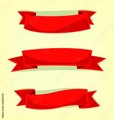 Vector Cartoon Red Ribbon Minimalist Badge Banner Ilration Template