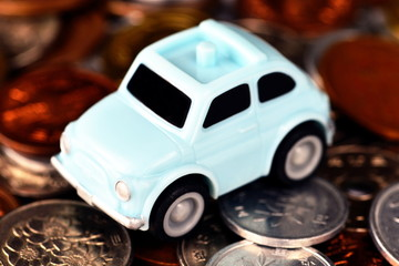 Mini car on the the coin