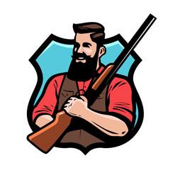Hunter holds shotgun in his hands. Gun shop, hunting, hunt concept. Cartoon vector illustration