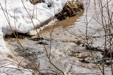 Spring stream, snow melting