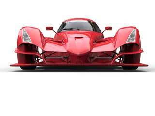 Angry red super race car - front view