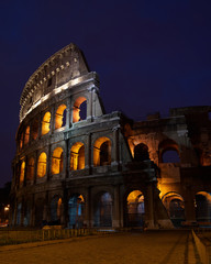 Flavian Amphitheater before dawn, Rome, Italy