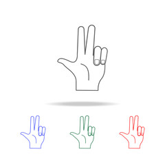 hand sign two fingers up icon. Elements of hands multi colored icons. Premium quality graphic design icon. Simple icon for websites, web design; mobile app, info graphics