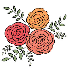 Colorful rose illustration