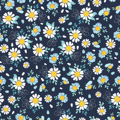 Black white daisies ditsy seamless pattern. Great for summer vintage fabric, scrapbooking, wallpaper, giftwrap. Suraface pattern design.