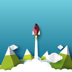 Rocket ship launch flying to the sky paper art style design.Business startup creative idea concept design.Vector illustration